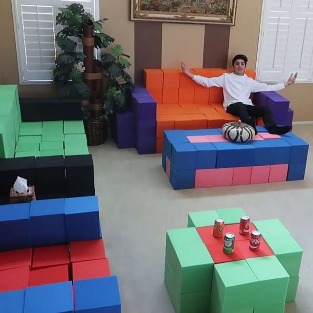 YouTuber Brian Awadis (aka FaZe Rug) makes furniture from foam-pit cubes