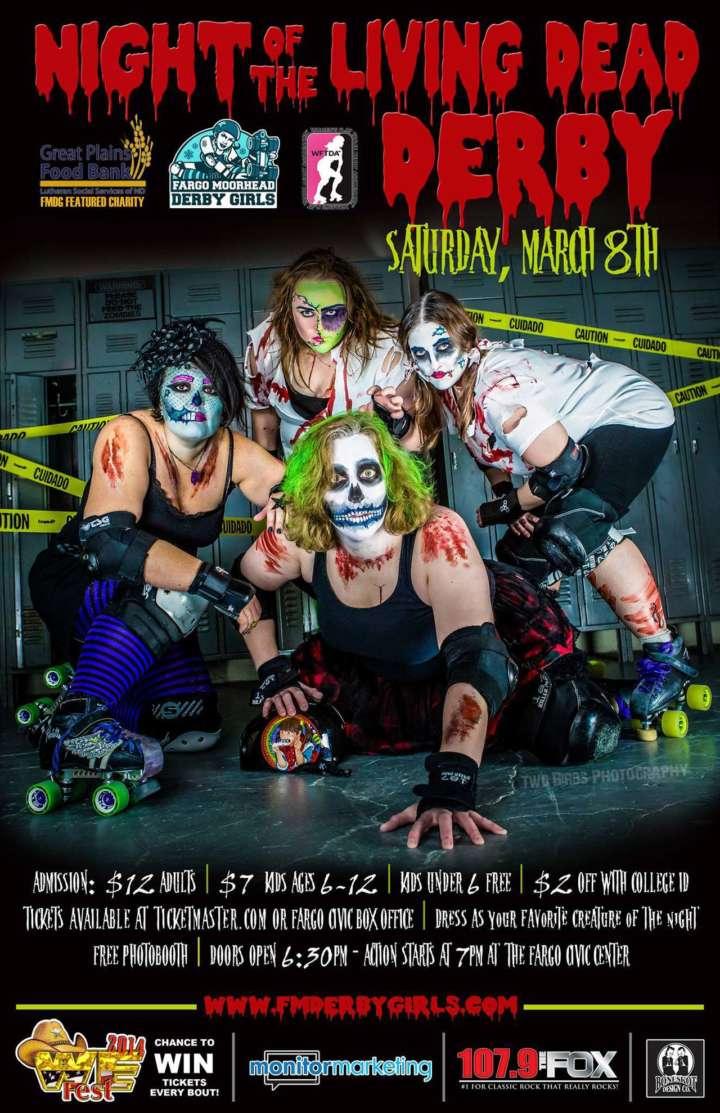 Zombie-themed roller derby poster from Fargo Moorhead Derby Girls